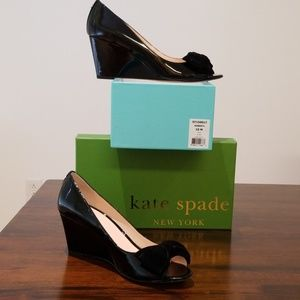 "Kate Spade ""Roberta"" Black Patent Wedge"